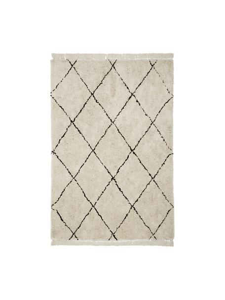 Flauschiger Hochflor-Teppich Naima mit Fransen, handgetuftet, Flor: 100% Polyester, Beige, Schwarz, B 160 x L 230 cm (Größe M)