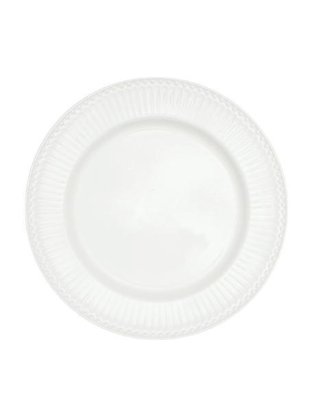 Handgemachte Speiseteller Alice in Weiß mit Reliefdesign, 2 Stück, Steingut, Weiß, Ø 27 cm