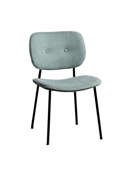 Krzesło tapicerowane Oprah, Tapicerka: 100% poliester, Nogi: metal powlekany, Turkusowy, czarny, S 56 x G 52 cm