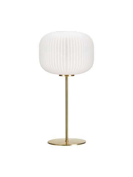 Tafellamp Sober met glazen lampenkap, Glas, geborsteld metaal, Wit, goudkleurig, Ø 25 x H 50 cm