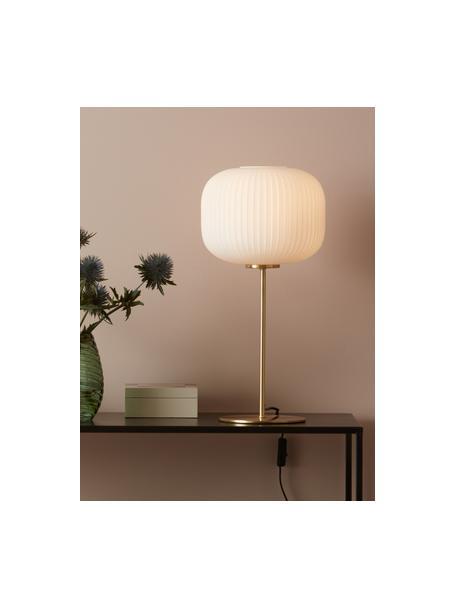Grosse Tischlampe Sober mit Glasschirm, Lampenschirm: Glas, Weiss, Gold, Ø 25 x H 50 cm