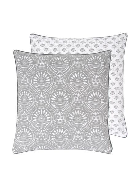 Dwustronna poszewka na poduszkę z bawełny organicznej Tiara, 100% bawełna organiczna, certyfikat GOTS, Jasny szary, biały, S 45 x D 45 cm
