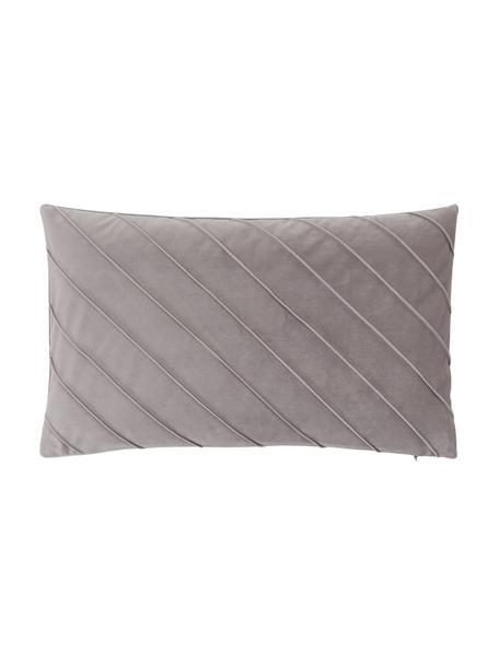 Fluwelen kussenhoes Leyla in lichtgrijs met structuurpatroon, Fluweel (100% polyester), Grijs, 30 x 50 cm