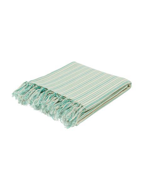 Gestreept bedsprei Puket met franjes, 100% katoen, Turquoise, gebroken wit, B 240 x L 260 cm (voor bedden van 160 x 200)