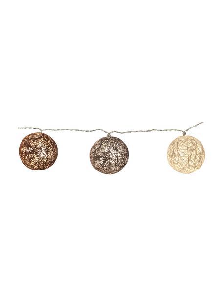 Ghirlanda a LED Jolly Lights, 435 cm, 10 lampioni, Lanterne: cotone, Marrone, Lung. 435 cm