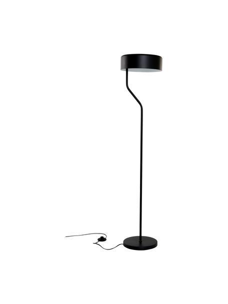 Leeslamp Zed van metaal, Lampenkap: gecoat metaal, Lampvoet: gecoat metaal, Zwart, Ø 30 x H 142 cm