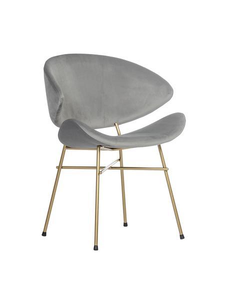 Krzesło tapicerowane z weluru Cheri, Tapicerka: 100% poliester (welur), Stelaż: stal malowana proszkowo, Jasny szary, odcienie mosiądzu, S 57 x G 55 cm