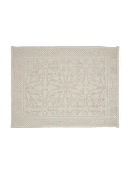 Baumwoll-Badvorleger Hammam mit Hoch-Tief-Muster, 100% Baumwolle, schwere Qualität, 1700 g/m², Gebrochenes Weiß, 60 x 80 cm