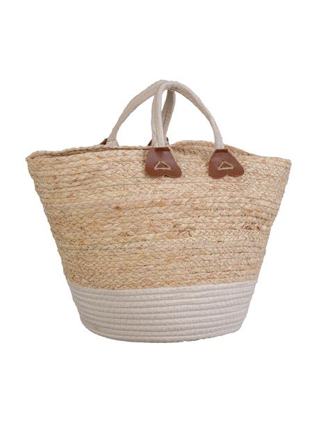 Bolsa de playa artesanal de fibras sintéticas Seaside, Cesta: fibra sintética Asa, Beige, An 34 x Al 29 cm
