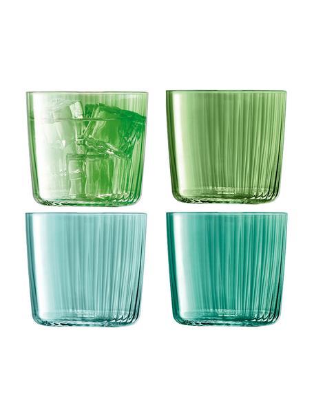 Vasos de colores con relieve de vidrio soplado artesanalmente Gemas, 4uds., Vidrio soplado artesanalmente, Verde, Ø 8 x Al 7 cm