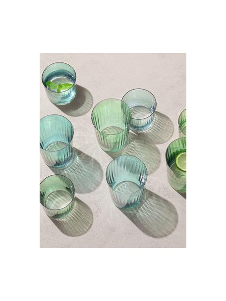 Mondgeblazen waterglazen Gems met groefreliëf, 4-delig, Mondgeblazen glas, Groentinten, Ø 8 x H 7 cm