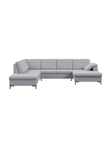 Sofa narożna XL z funkcją spania i ze schowkiem Moor, Tapicerka: 100% poliester z systemem, Stelaż: drewno liściaste, drewno , Nogi: drewno lakierowane Dzięki, Jasny szary, S 335 x G 235 cm