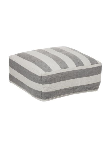 Ręcznie tkana poduszka podłogowa wewnętrzna/zewnętrzna Lani, Szary, ecru, S 63 x W 30 cm