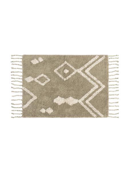 Tappeto bagno beige/bianco con motivo boho e nappe Fauve, 100% cotone, Beige, bianco, Larg. 50 x Lung. 70 cm