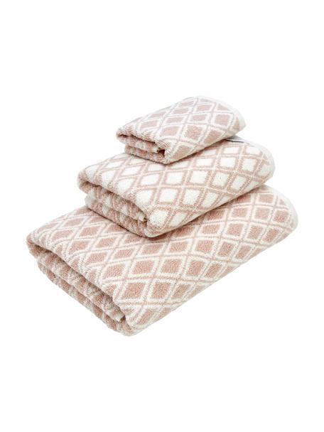 Set de toallas Ava, 3pzas., caras distintas, Rosa, blanco crema, Set de diferentes tamaños