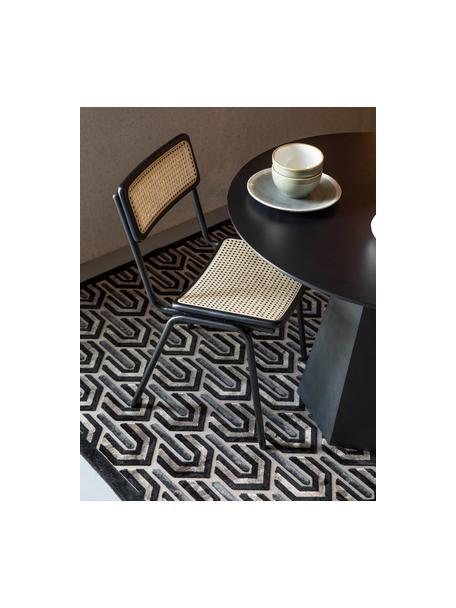 Tappeto con motivo a rilievo Beverly, Retro: lattice, Nero, beige, grigio, Larg. 170 x Lung. 240 cm