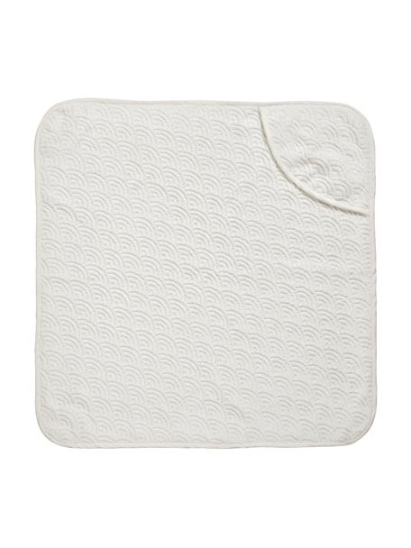 Badcape Wave van biokatoen, 100% organisch katoen, GOTS-gecertificeerd, Gebroken wit, 80 x 80 cm