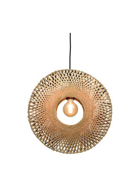 Pendelleuchte Kalimantan aus Bambus, Lampenschirm: Bambus, Baldachin: Metall, beschichtet, Beige, Schwarz, Ø 44 x H 44 cm