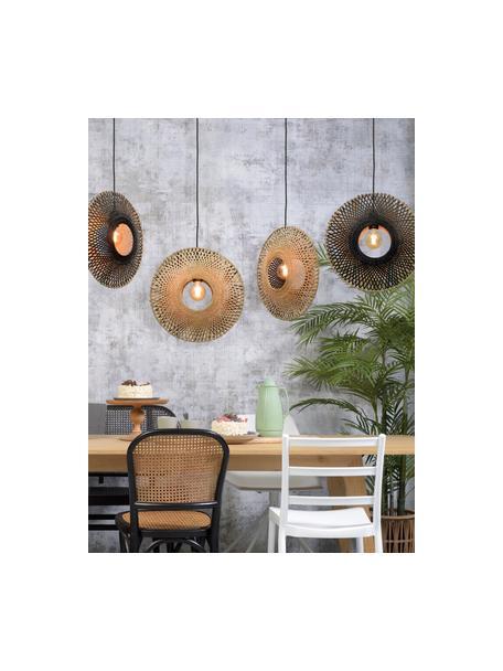Lampada a sospensione in bambù Kalimantan, Paralume: bambù, Baldacchino: metallo rivestito, Beige, nero, Ø 44 x Alt. 44 cm