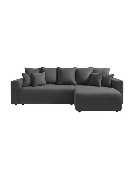 Sofá cama rinconero modular Elvi, con espacio de almacenamiento, Tapizado: poliéster, Patas: plástico, Gris antracita, An 282 x F 153 cm