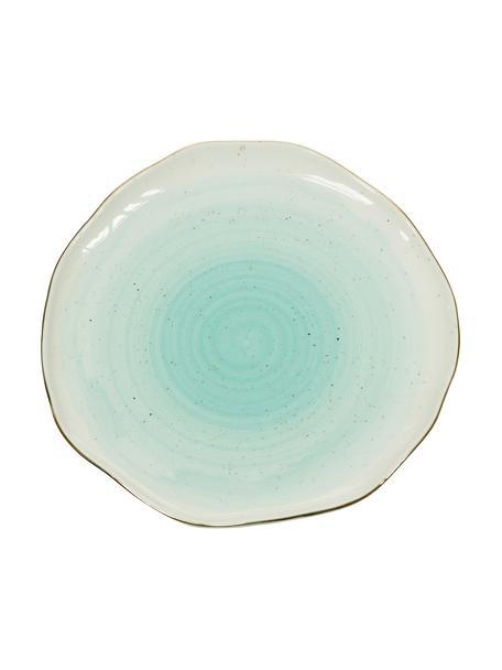 Handgemaakte ontbijtborden Bella met goudkleurige rand, 2 stuks, Porselein, Turquoiseblauw, Ø 19 x H 3 cm