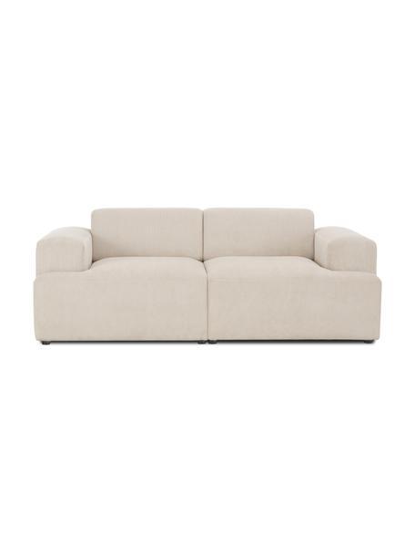 Sofá de pana Melva (2plazas), Tapizado: pana (92%poliéster, 8%p, Estructura: madera de pino maciza, ce, Patas: plástico, Pana beige, An 198 x F 101 cm