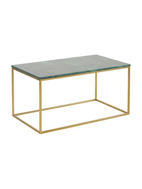 Marmeren salontafel Alys, Tafelblad: marmer, Frame: geborsteld metaal, Tafelblad: groen marmer. Frame: glanzend goudkleurig, 80 x 40 cm