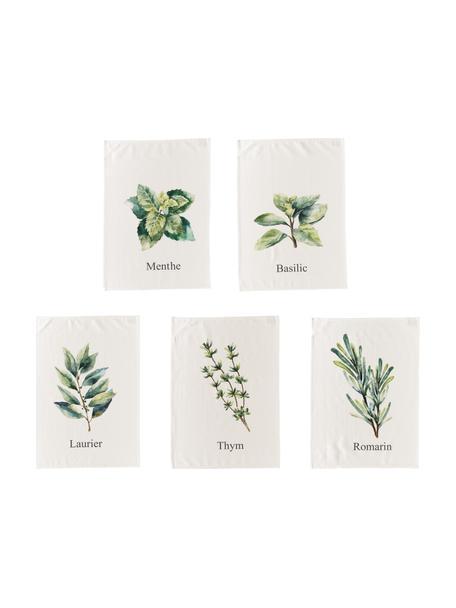 Katoenen theedoekenset Aroma met kruidenmotieven, 5-delig, Katoen, Gebroken wit, groentinten, 50 x 70 cm