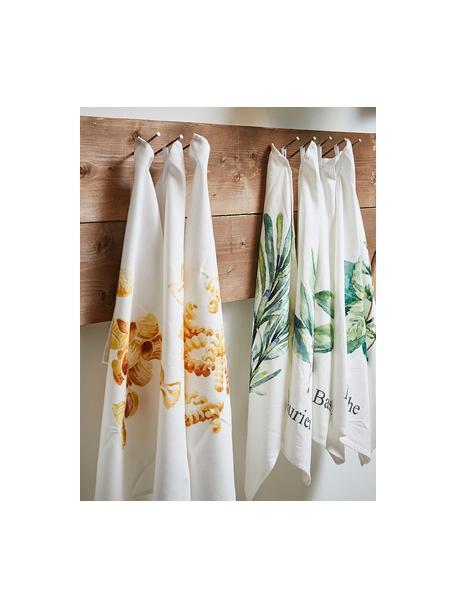 Paños de cocina de algodón Aroma, 5uds., 100%algodón, Blanco crudo, tonos verdes, An 50 x L 70 cm
