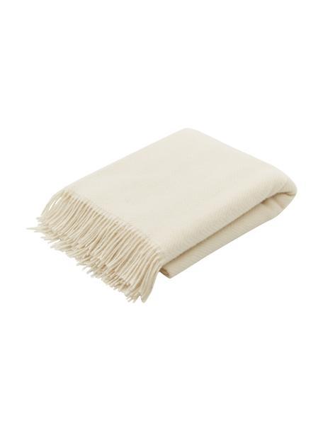 Coperta in lana color bianco crema con motivo a spina di pesce e frange Triol-Mona, 100% lana, Bianco crema, Larg. 140 x Lung. 200 cm