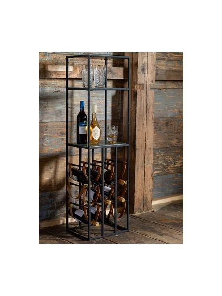 Marmeren wijnrek Mil voor 9 flessen, Frame: gepoedercoat metaal, Plateaus: marmer, Zwart, groen, 36 x 126 cm