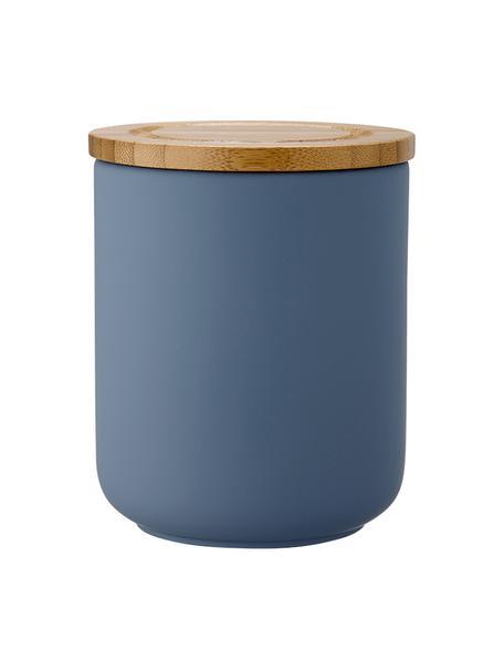 Opbergpot Stak, Pot: keramiek, Deksel: bamboehout, Mat blauw, bamboehoutkleurig, Ø 10 x H 13 cm