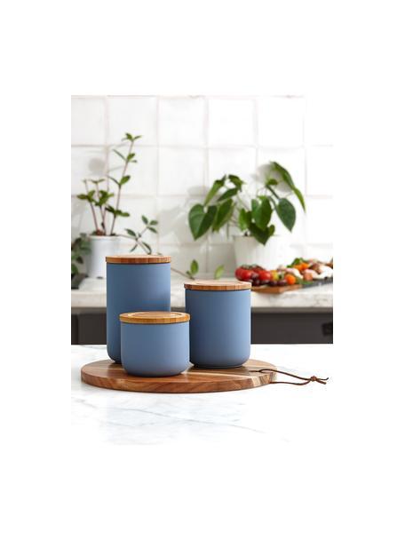Aufbewahrungsdose Stak, verschiedene Grössen, Dose: Keramik, Deckel: Bambusholz, Mattblau, Bambus, Ø 10 x H 13 cm