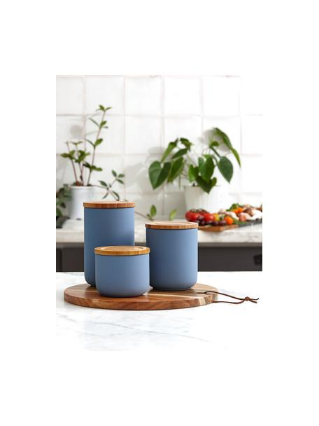 Bote Stak, diferentes tamaños, Azul mate, bambú, Ø 10 x Al 13 cm
