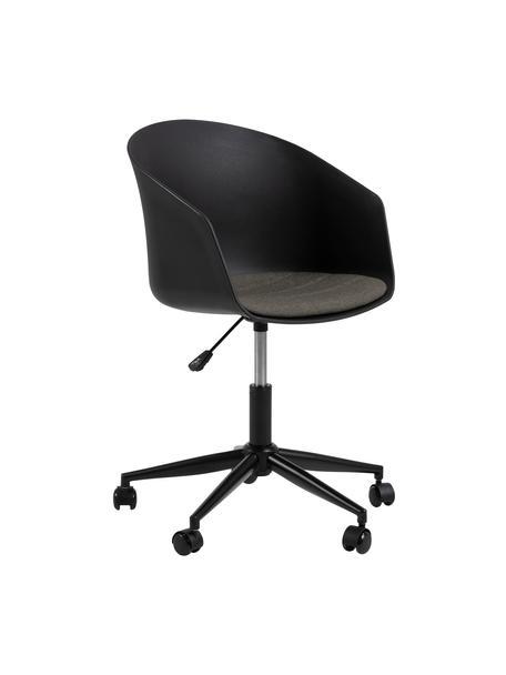 Sedia da ufficio nera Moon, Seduta: polipropilene, Struttura: metallo verniciato a polv, Ruote: plastica, Nero, grigio scuro, Larg. 65 x Prof. 65 cm