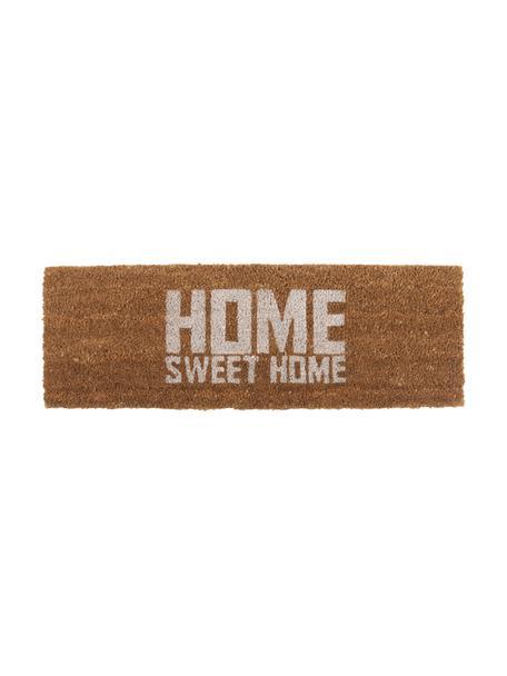 Zerbino in cocco Home Sweet Home, Fibra di cocco, Marrone, bianco, Larg. 26 x Lung. 77 cm