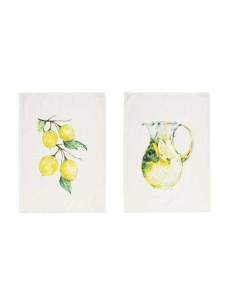 Strofinaccio in cotone con motivo limoni Citronade 2 pz, 100% cotone, Bianco, giallo, verde, Larg. 50 x Lung. 70 cm
