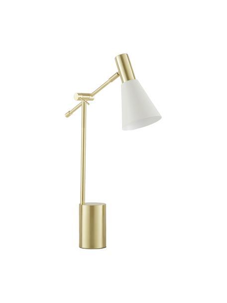 Große Schreibtischlampe Sia aus Metall, Lampenschirm: Metall, pulverbeschichtet, Lampenfuß: Metall, vermessingt, Weiß,Messingfarben, Ø 13 x H 63 cm