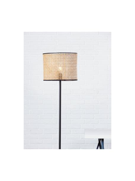Lampa podłogowa z rattanowym kloszem  Wiley, Czarny, jasnobrązowy, Ø 30 x W 154 cm