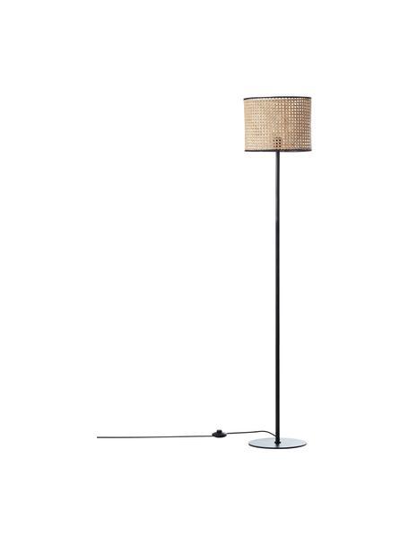 Lámpara de pie de ratán Wiley, Pantalla: ratán, Cable: cubierto en tela, Ratán, negro, Ø 30 x Al 154 cm