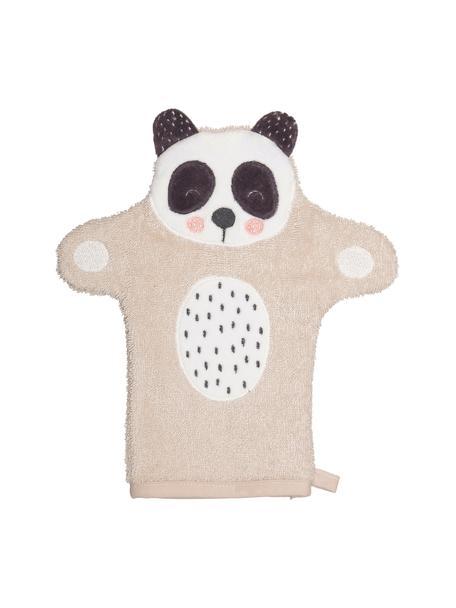 Manopla de baño Panda Penny, 100%algodón ecológico, Beige, blanco, gris oscuro, An 11 x L 21 cm