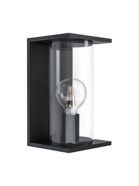 Applique da esterno con paralume in vetro Cascinetta, Paralume: vetro, Struttura: acciaio zincato, Nero, trasparente, Larg. 17 x Alt. 28 cm
