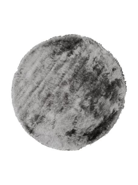 Glanzend hoogpolig vloerkleed Jimmy in lichtgrijs, rond, Bovenzijde: 100% polyester, Onderzijde: 100% katoen, Lichtgrijs, Ø 120 cm (maat S)