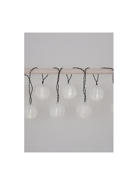 Guirnalda solar de luces Kosmos, 430cm, 10 luces, Linternas: papel de arroz, Cable: plástico, Negro, blanco, L 430 cm