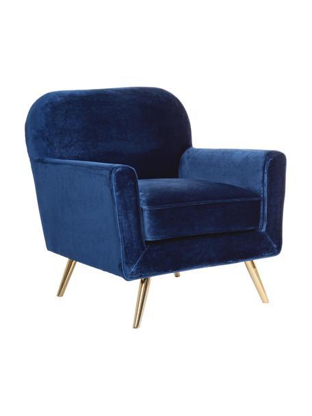 Poltrona in velluto blu Lydia, Rivestimento: velluto di poliestere, Piedini: metallo rivestito, Blu, Larg. 80 x Prof. 75 cm