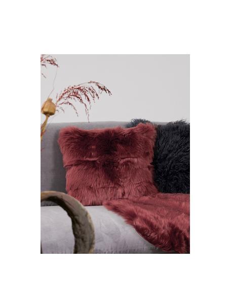 Flauschige Kunstfell-Kissenhülle Mathilde in Terrakotta, glatt, Vorderseite: 67% Akryl, 33% Polyester, Rückseite: 100% Polyester, Terrakotta, 40 x 40 cm