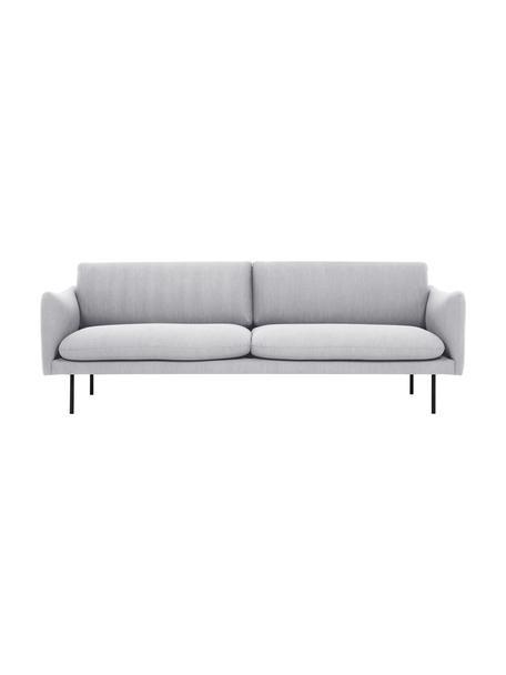 Sofa Moby (3-Sitzer) in Hellgrau mit Metall-Füssen, Bezug: Polyester Der hochwertige, Gestell: Massives Kiefernholz, Webstoff Hellgrau, B 220 x T 95 cm