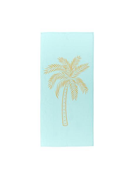 Telo mare leggero con motivo palma Palmtree, 55% poliestere, 45% cotone Qualità molto leggera 340 g/m², Turchese, giallo, Larg. 70 x Lung. 150 cm