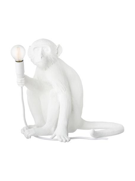Lámpara de mesa pequeña de diseño Monkey, Lámpara: resina, Cable: plástico, Blanco, An 34 x Al 32