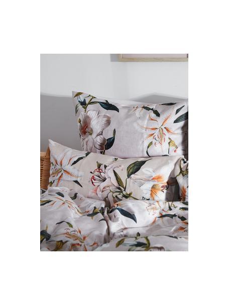 Baumwollsatin-Kopfkissenbezüge Flori in Beige mit Blumen-Print, 2 Stück, Webart: Satin Fadendichte 210 TC,, Vorderseite: Beige, Cremeweiß Rückseite: Beige, 40 x 80 cm
